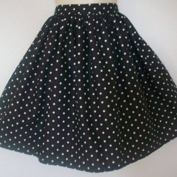 Retro Black Polka Dot Full Skirt / Womens Gathered by Eclectasie