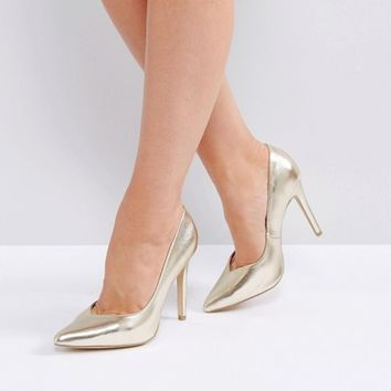 New Look Wide Fit Metallic Pointed Heeled Court Shoes at asos.com