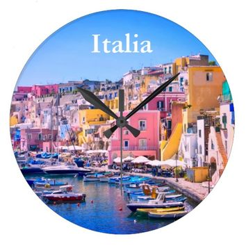 Colorful Italy Fishing Harbor Large Clock