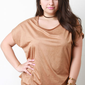 Suede Side Pleated Dolman Short Sleeves Top