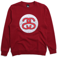 SS Link Applique Crewneck Sweatshirt Dark Red