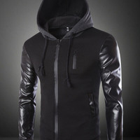 Block Leather Sleeve Patchwork Hoodie Zipper Jacket