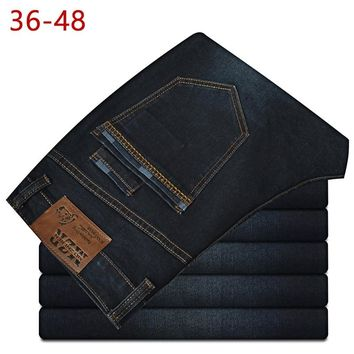 2018 Summer Big Size 36-48 Stretch Baggy Jeans Men Brand Demin Blue Pants Business Casual Male Fashion Elastic Plus Overalls CQY