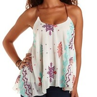 White Combo Aztec-Embroidered Trapeze Tank Top by Charlotte Russe