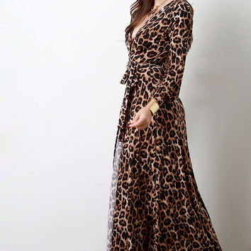 Safari Leopard Surplice Longsleeve Maxi Dress