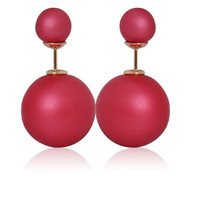Gum Tee Mise en Style Tribal Earrings - Matte Raspberry Red