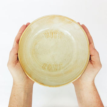 """Large rustic white pottery serving bowl """"with love"""" decoration"""