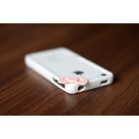 Hello Kitty Iphone 4 4s Bumper Whisper White with Baby Pink Bow