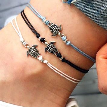3PCS/Set Multilayer Anklets  Bohemian Retro Turtle Rope