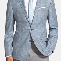 BOSS Trim Fit Check Wool Sport Coat,