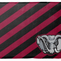 Crimson and Black Stripped Memory Foam Bath Mat, or Woven Dolby Rug