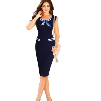 Women's Office Dresses New Work Wear Dress for Office Party Causal Nautical Navy Blue Sleeveless Bow Button Pencil Dress