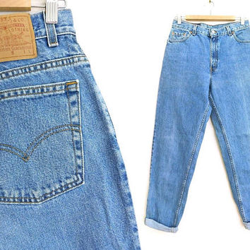 "Sz 10 L 90s Levi's 550 High Waisted Mom Jeans - Vintage Women's Relaxed Fit Tapered Leg Vintage Stone Wash Denim Jeans -30.5"" Waist-USA Made"