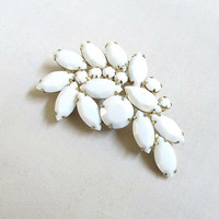 JULIANA Milk Glass Chalk White Rhinestones Leaf Brooch Verified D&E Vintage