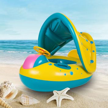 High Quality Baby Swimming Float Ring Inflatable Sunshade Seat Boat Swim Ring Outdoor Swimming Pool Beach Water Sports Fun Toy