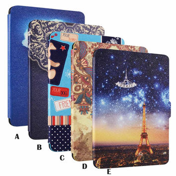 Protective Painting Pattern PU Leather Skin Cover Case Holder funda capa for Amazon Kindle Paperwhite 2015 1 2 3