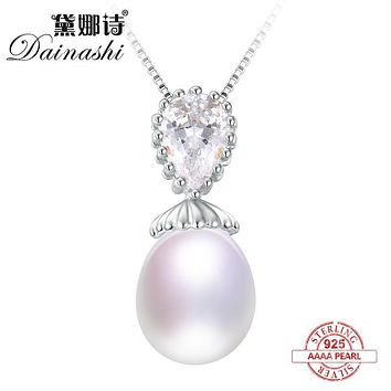 Dainashi 925 solid silver slide pearl pendants dazzling and classic and Immaculate pearls necklaces brand jewelry for gifts