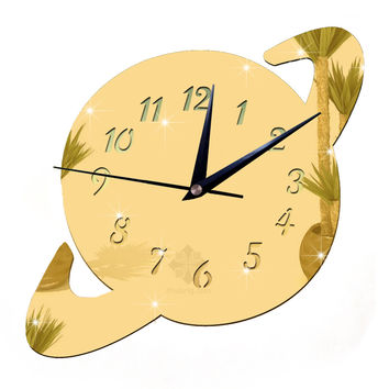 Mirror DIY Creative Wall Clock Acrylic Sticking Decoration    golden