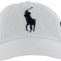 Polo Ralph Lauren Hat Baseball Cap Big Pony #3 Cotton Adjustable (WHITE WITH BLUE PONY)