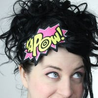 Kapow Headband, Hot Pink and Yellow, Embroidered