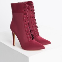 Lace Up Open Front Fabric Stiletto Booties in Black, Grey, Taupe, Olive, Wine