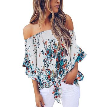 Summer Women Beach blouse Cold Shoulder Blouse Floral Knot Tie Front Chiffon Shirt Flare Sleeve Tops Shirts mujer de mod#G