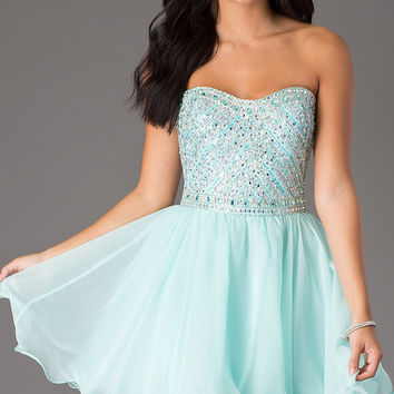 Mori Lee Strapless Dress with Beaded Top
