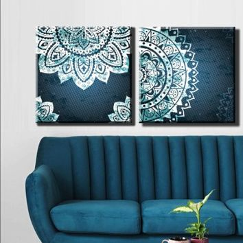 "2 Pieces Each 22x22"" Box Framed Canvas Print Artwork Stretched Gallery Wrapped Wall Art Like Painting Hanging Original Decorative Modern Home & Living Decor Mandala Menhdi Flower Pattern Ornament Om Indian Hindu Buddha (Canm42)"