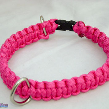 Paracord Dog Collar (Solid colors) 2 D Ring