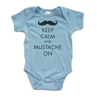 Keep Calm and Mustache On - White or Light Blue Short Sleeve Baby Bodysuit