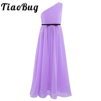 Tiaobug Flower Girls Maxi dresses for party and wedding Kids evening gowns Vestido longo Chiffon One-shoulder Pleated Dresses