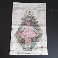 Vintage Salvaged Completed Embroidered Tapestry, Little Girl Needlepoint Embroidery