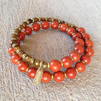 Grounding and Prosperity, Red Jasper and Faceted Tiger's Eye 27 Bead Wrap Mala Bracelet