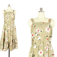Vintage Sun Dress -- Daisy Print Dress -- Strappy Summer Dress -- Knee Length -- 70s Floral Dress in Khaki Black & White -- Womens L