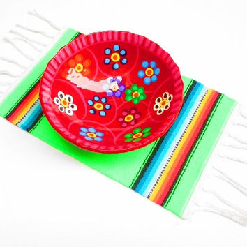 Aztec home decor, tribal placemat, table decoration, mexican party decor, centerpiece decoration, tribal place mat, lime green aztec,