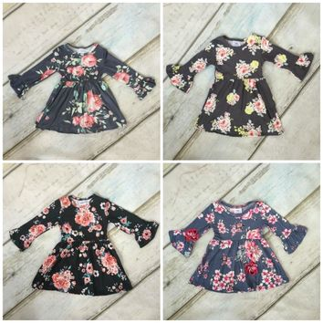 Fall/winter baby girls children clothes cotton long sleeve dress multy color ruffle floral grey black boutique milk silk kids