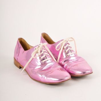 KUYOU Pink Metallic Leather  Fred  Lace Up Brogues