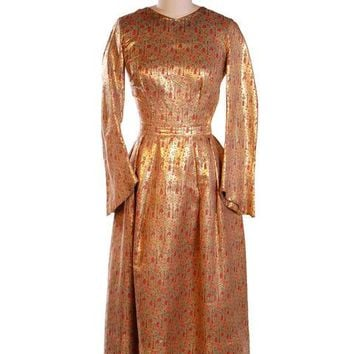 Vintage Liquid Gold Metallic Damask Evening Gown Custom 1940S 36-28-Free