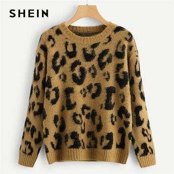 SHEIN Multicolor Highstreet Elegant Leopard Print Fuzzy Round Neck Pullovers Jumper 2018 Autumn Casual Campus Women Sweaters