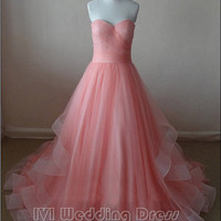 Real Pictures Coral Sweetheart Prom Dress, Long Train Quinceanera Dress with Pencil Edge