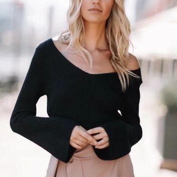 Pure Color Long Sleeves V-neck Short Crop Sweater