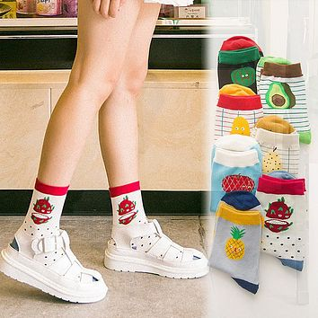 New Arrival Fruit men women socks Fashion Casual Harajuku Cute Style cotton Pineapple Pattern watermelon socks