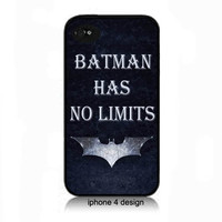 Dark Knight 'Batman Has No Limits' iphone 4 case, iphone 4 accessory cell phone cover