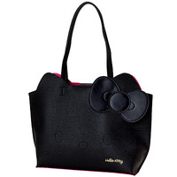 Buy Sanrio Hello Kitty Black Faux Leather Style Die-Cut Face Tote Bag at ARTBOX
