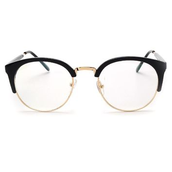 ROYAL GIRL Fashion Cat's Eye Half Frame Metal Edge Round Brand Design Glasses UV400 ss104