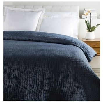 Alba Solid Navy Blue Quilt