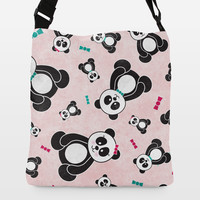 Panda Freefall in Pink Adjustable Strap Tote by noondaydesign on BoomBoomPrints
