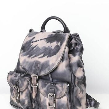 Tie Dye Leather Backpack