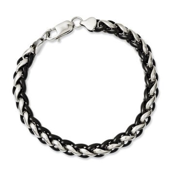 Stainless Steel Polished And Black IP-Plated 8.25in Bracelet