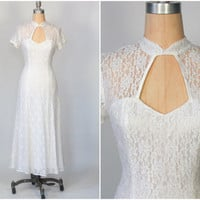 vintage 90s white lace maxi dress / peek a boo cut out / wedding dress